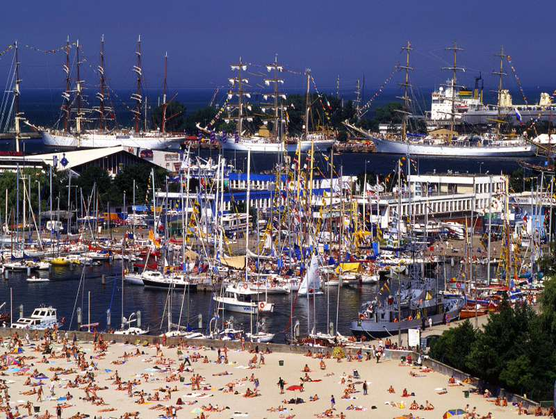 Beach and marina